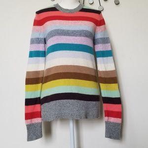 Gap sweater crazy multi stripe lambs wool medium